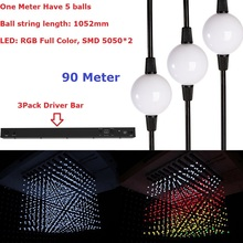 90Pcs Christmas Party Light balls 1.5W Milky Cover RGB Full Color LED Pixel 3D Ball Light With Professional Drive Bar Controller