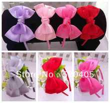 20 PCS Hot Sale Hair Accessories Double Satin Bows Hair Bands For Girls Women Baby flower headbands Lace Bow headband wholesale