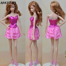 Fashion Doll Clothes Multi-layer Sexy Mini Dress For Barbie Dolls One Piece Fitting Vestidos Dresses For 1/6 BJD Doll Dress(China)