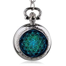 Trend quartz watch Silver Stainless Steel Tree Of Life Chain Luminous Pocket Watch Necklace Women Jewelry Glowing Pendant Chain