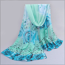 2017 Women Spring Scarf Fashion Chiffon Silk Scarf Flowers Roses Hot Sell Bandana Printing thin shawl Scarves bufandas