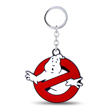 HSIC Hot&New Keychain Glow in Dark Belt Buckle Red Men's Ghostbusters Logo Keyring Metal Car Key Chain Souvenirs Jewelry HC11094
