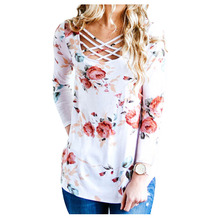 Women's New Fashion Spring Autumn Flower Printed T Shirts Long Sleeve Tops Cross O-Neck T Shirt Ladies Casual Tees Elegant Fem(China)