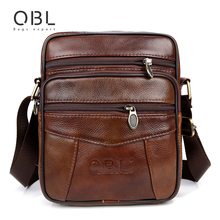 QiBoLu Cow Genuine Leather Messenger Bags Men Travel Business Crossbody Shoulder Bag for Man Sacoche Homme Bolsa Masculina MBA19(China)