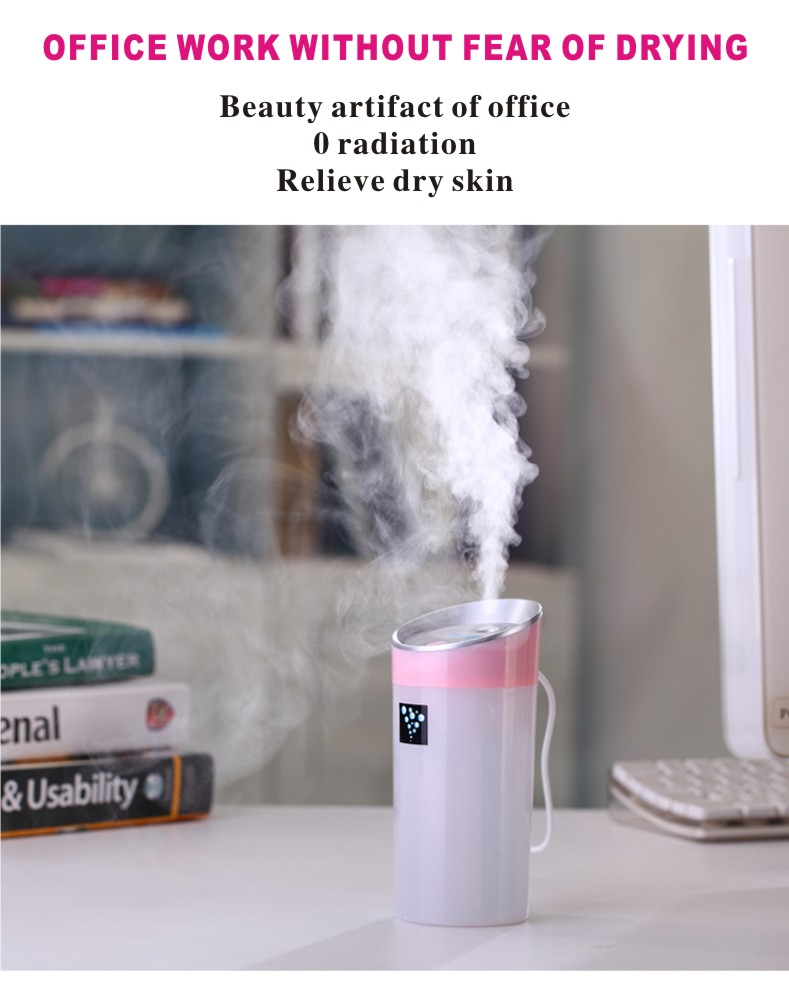 EASEHOLD Cool Mist Humidifier Portable Travel USB Mini Ultrasonic Diffuser for Car Home Office Baby with Automatic Shut-off