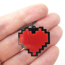 "Pixels Heart Necklace - Undertale cosplay of Frisk - 24"" Length red heart pendant 10PCS/lot"