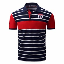 New Mens Casual Stripe Short Sleeve Performance POLO Shirts FM026(China)