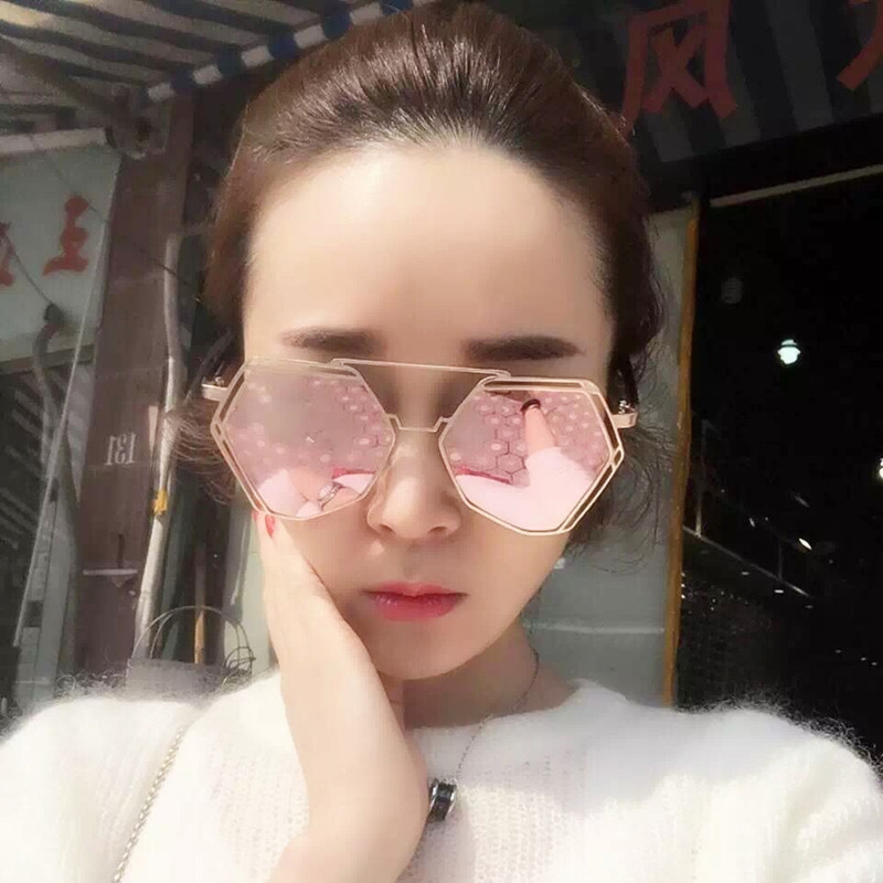 TSHING RAY New Oversized Women Steampunk Sunglasses Fashion Female Metal Frame Unique Geometry Twin-Beams Mirror Sunglases<br><br>Aliexpress
