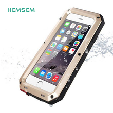 Waterproof For iphone 7 Luxury Doom Armor Case Metal Phone Case Poor Shake For iphone 6 SE 5 5C 5 S 6 S More Case+Tempered Glass(China)
