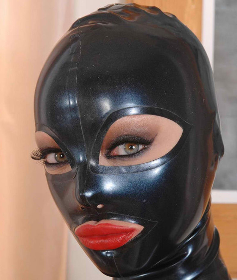 New Anatomical Latex Mask Black Rubber Fetish Latex Hoods Masks Sexy Mouth Eyes Condom Rubber customized catsuit costume