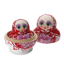 10pcs/lot Wooden Matryoshka Set Russian Dolls Baby Toy Nesting Dolls Hand Painted Home Decoration Toy Gift for Children(China)
