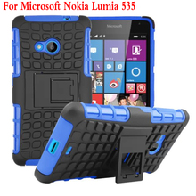 For Microsoft Nokia Lumia 535 Case Heavy Duty Armor Kickstand Hybrid Hard Composite TPU ShockProof Cover