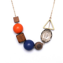 Unique Wood Pendant Necklaces Cute Alloy Hollow Triangular Trendy Round Bead Necklace For Women Jewelry Wholesale(China)