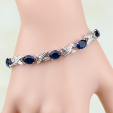 925 Sterling Silver Jewelry Blue Zircon White CZ Chain&Link Charm Bracelets For Women Free Gifts Box& S100(China)