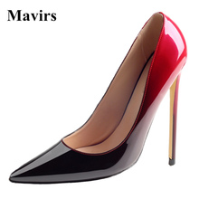 MAVIRS 2017 NEW Fashion Patent Leather Suede Pointed Toe High Heels Ladies Pumps Thin Heels  Party Dress Stiletto Shoes Female