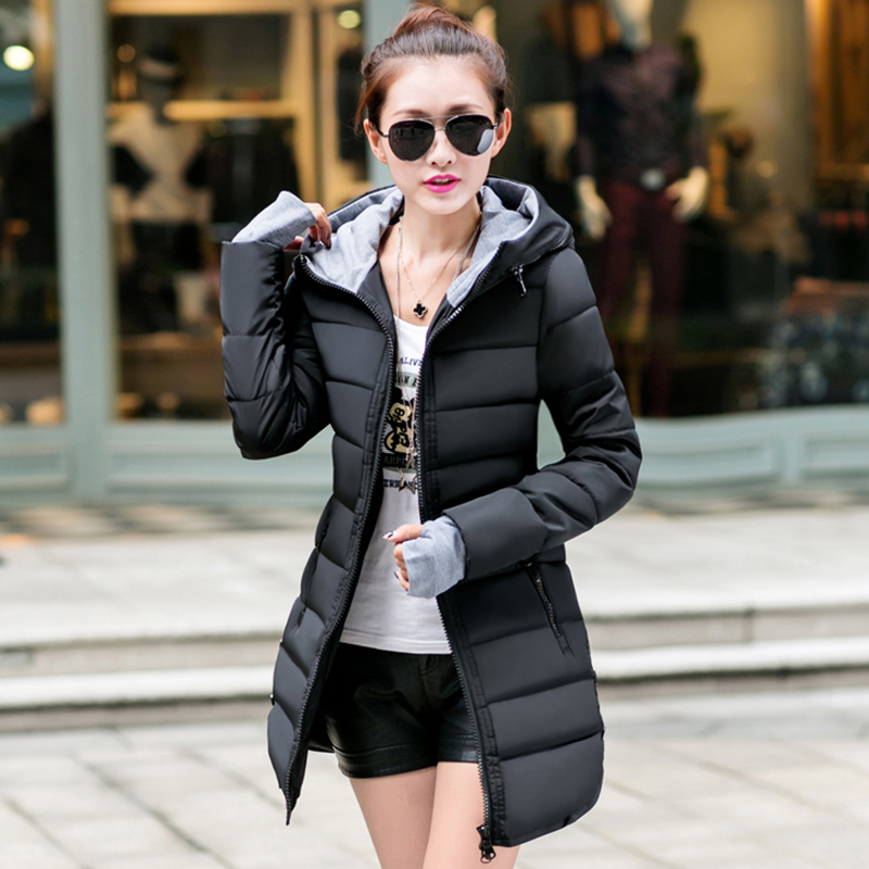T-INSIDE Women 2017 Warm Jacket Winter New Medium-Long Down Cotton Parka Plus Size Coat Slim Ladies Casual Clothing Hot SaleÎäåæäà è àêñåññóàðû<br><br>
