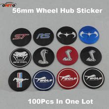 100Pcs for ST RS mustang shelby 56MM 2.20inch car Wheel center stickers Auto Wheel Logo Cover Badge Car Wheel Emblem Sticker