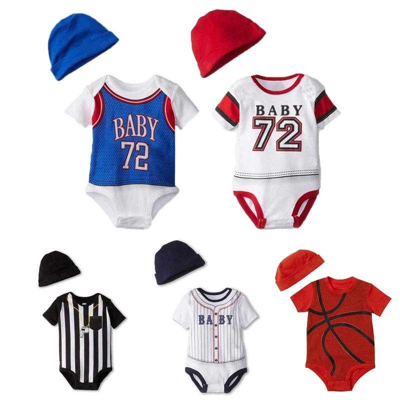 Baby Toddler Boys Football Print Short Sleeve Romper Jumpsuit Overalls