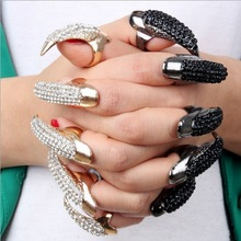 Hot sale Exaggerate Armor Nails Rings For Women Eagle Claw Black/Gold Crystal ToneRing Set Statement Jewelry Three Size 1Pcs/Bag