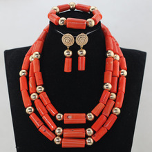 2017 Real Coral Fashion Women Coral African Beads Jewelry Sets Nigerian Wedding Party Costume Jewellery Set Free ShippingABH500