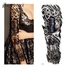 1 Piece Tattoo Sticker Robot Machine Gear Pattern Temporary Full Flower Arm Body Art Women Men Fake Tattoo Sticker Decal QB-3008