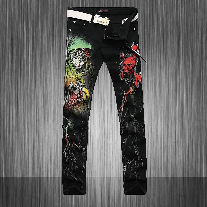 New Cool Stylish Fashion Jeans Men/Skinny Black Slim Fit Mens Print Jeans Pant/Designers Gothic Fancy Floral Men MB565 Z25Îäåæäà è àêñåññóàðû<br><br>