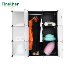 Finether 9 Cube Interlocking Modular Storage Organizer Shelving System Closet Wardrobe Rack with Doors for Home Clothes Shoes