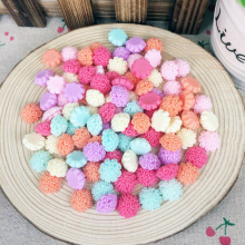 50Pieces Mix Color Flatback Flat Back Resin Flower Cabochon Kawaii DIY Resin Craft Decoration Scrapbooking Accessories:13mm