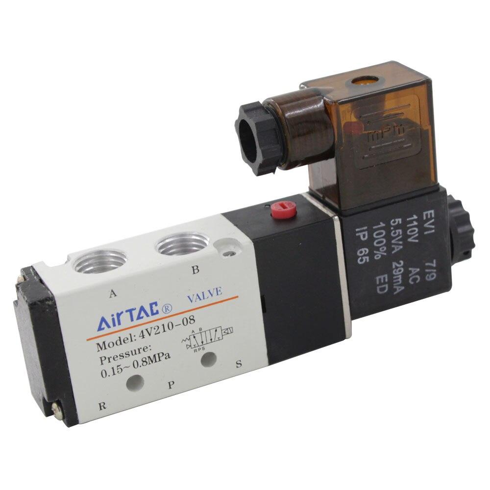 4V210-08 AC220 Single-head 2 Position 5 Way Pneumatic Solenoid Control Valve<br><br>Aliexpress