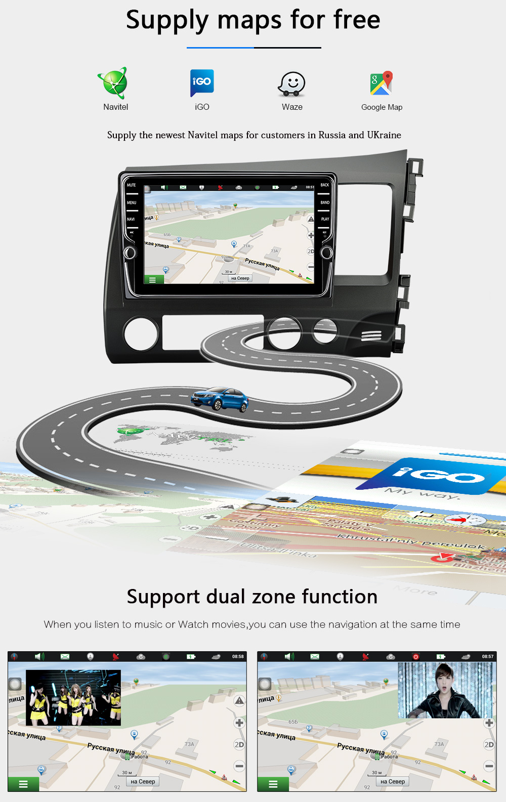JOYING 4GB RAM 64GB ROM 8 Core android 8 car dvd player for honda civic 2006 2011 with radio gps support Carplay steering wheel