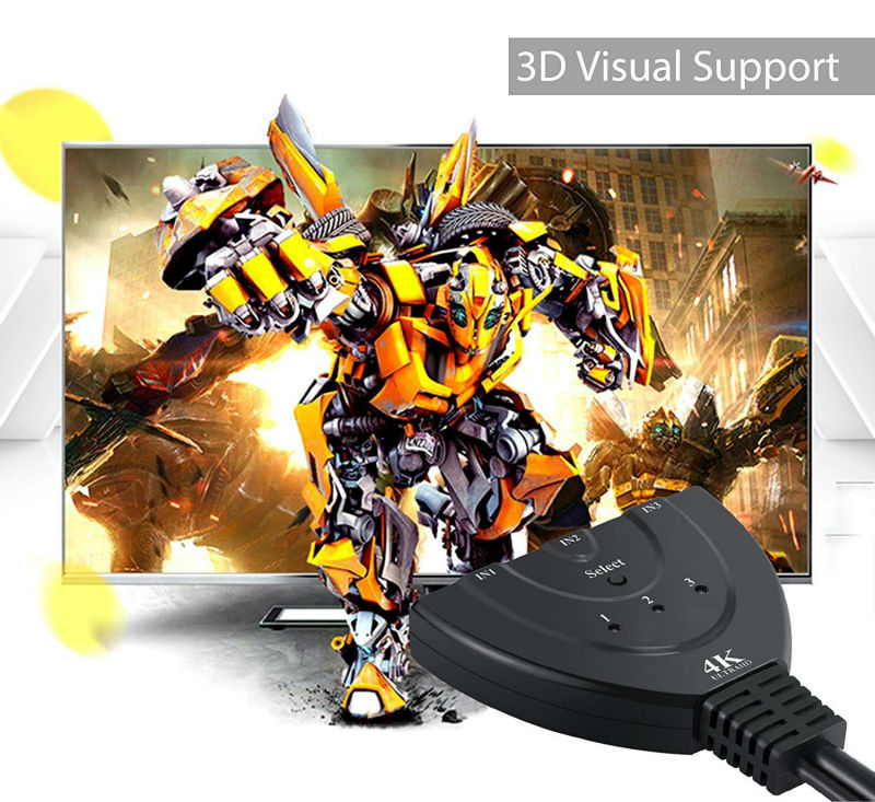 UNSTINCER HDMI Hub 3 Port 1080P 3D HDMI Switcher Switch Splitter 3×1 with Cable for PC TV HDTV DVD PS3 Xbox with USB Cable