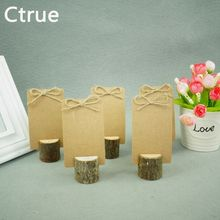 10 PCS Archaize Branch Wedding Wooden Place Card Holder Vintage Card Holder Table Number Stands for Wedding Decoration(China)