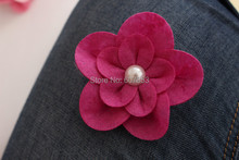 Felt Flowers Hair Flowers Pearl Flower,Baby girl children hair accessories 7.5cm 100pcs(China)