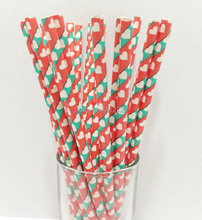 100pcs red&green stripe Paper Straws for Christmas hearts Pattern Drinking Straw For Valentine Wedding Party Birthday Decoration(China)