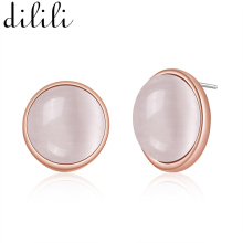 DILILI 2017 Fashion Small Round Rose Gold Color Stud Earrings Female Cute White Opal Stone Earrings For Women Party(China)