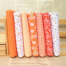 Hoomall 7Pcs/set 25*25cm Mixed Orange Fabric For Sewing Cloth DIY Patchwork Quilting Cotton Handmade Scrapbooking Art Work