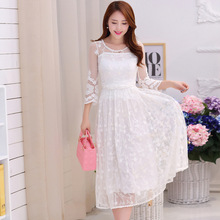2017 Embroidered Midi Long White Holidays Beach Dress Women Summer White Lace Dress Chiffon Three Quarter Sleeve Lace  Dress