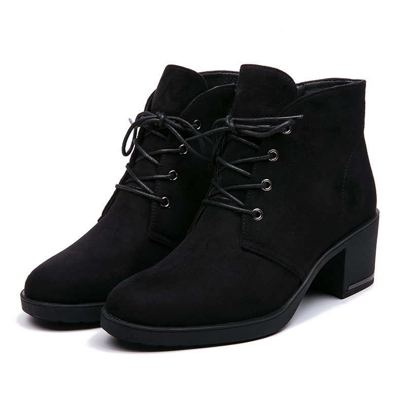 AIMEIGAO New Spring Autumn Women Ankle Boots Suede Leather Short Booties Lace Up Boots Women With Fur Shoes 2018 New Arrivals