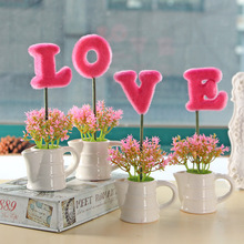 Caioffer Brand High Quality Pink Red Purple Artificial Flowers china Cheap Creative Wedding Decorations Flowers With Pot CXD01(China)