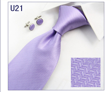 100% Silk solid Purple Neck Tie and Pocket Square Cufflinks Set  + Gift Box  For Man Business Meeting Interview Wedding Party