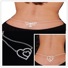 Body jewelry free shipping 10/lot mix 2style stainless steel heart and butterfly body chain jewelry sexy belly chain
