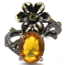8# Vintage Style Golden Citrins SheCrown Woman's Party Black Gold Silver Ring 23x14mm