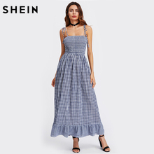SHEIN Sleeveless Self Tie Shoulder Smocked Bodice Tired Hem Gingham Dress Spaghetti Strap A Line Summer Maxi Dress(China)
