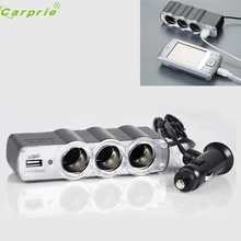New Arrival DC 12v/24V 1 To 3 USB Power Supply Car Charger Adapter&Triple Cigarette Lighter Socket M30(China)