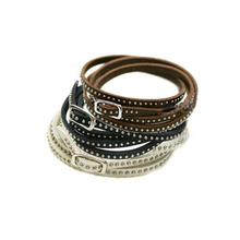 Unisex Womens Wrap Cuff Bangle Punk Multilayer Leather Rivet Stud Bracelet