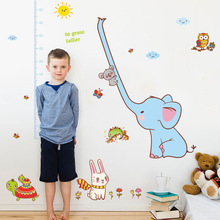 Cartoon Sky blue elephant long nose measurement height wall stickers for kids rooms stickers kindergarten mural wallpaper(China)