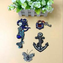 3D Handmade Diamond Patches Sew On Beaded Appliques DIY Apparel Accessories Keys and locks  Mermaid Badges Patches For Cloth