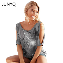 Slit Sleeve Cold Shoulder Feather Print Women Casual Summer T Shirt Girl 2017 Tee Tshirt Loose Top T-Shirt plus size S-5XL(China)