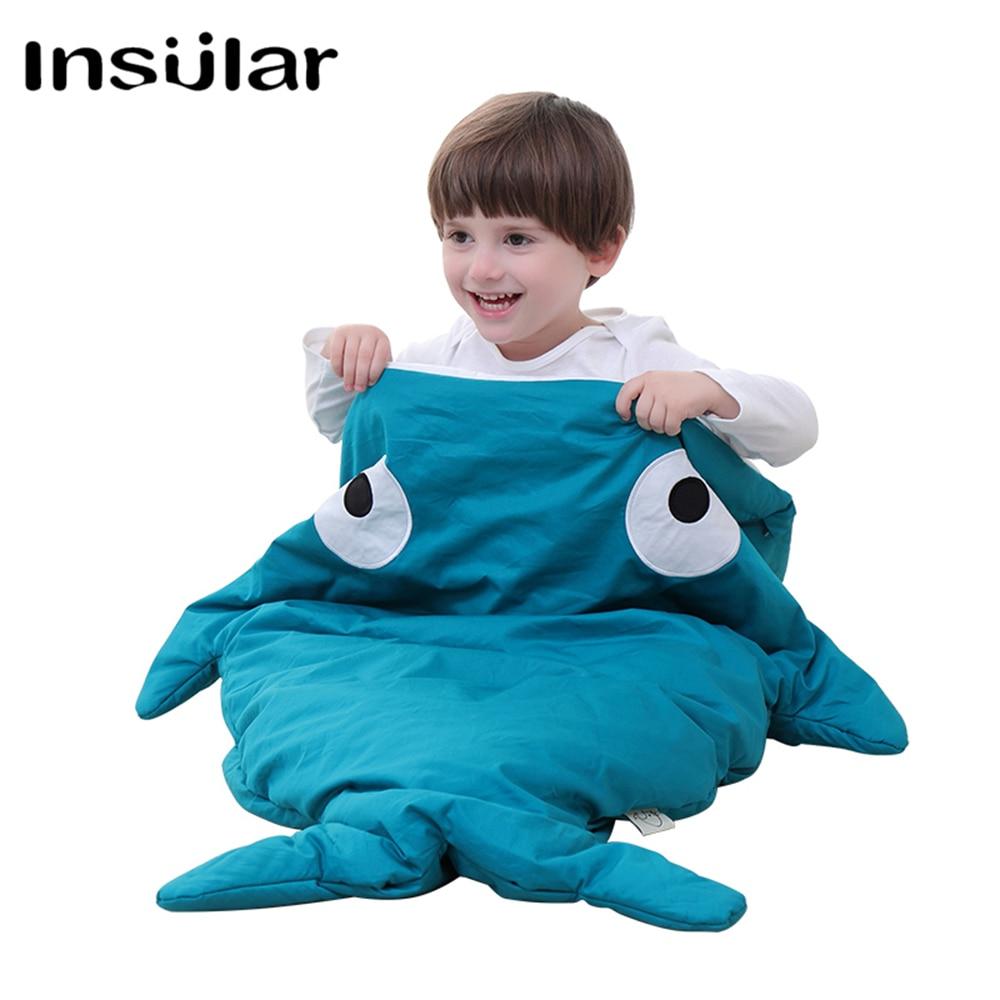 100% Cotton Shark Baby Winter Sleeping Bag Children Sleeping Sack Warm Baby Blanket Warm Swaddle Children Quilt(1-3 Years Old)<br>