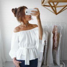 Hot Women Fashion White Ruffles Blouse V Neck Ladies Elegant Tops Clothing Shirts Tops Female Clothes Blouses Shirt with Bow Tie(China)